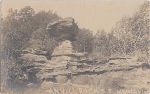 Wisconsin Wi Postcard c1910 MONDOVI Real Photo RPPC ANVILL ROCKS Standing