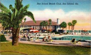 Sea Island Georgia GA Postcard 1953 Sea Island Beach Club Linen Unposted