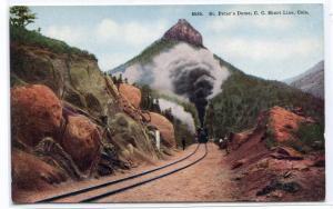 Railroad Train St Peter's Dome Cripple Creek Short Line Colorado 1910c postcard