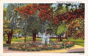 Middletown New York~Thrall Park Fountain~1940s Linen Postcard