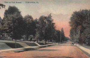 View on York Ave., Towanda, Pennsylvania, Early Hand Colored Postcard, Unused