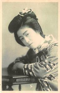 Japan Old Vintage Antique Post Card Young Woman Writing on back