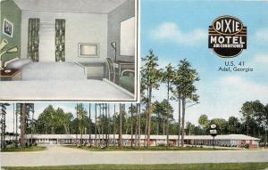 Adel Georgia~Dixie Motel~Panorama View~Interior Room~Linen Motor Court~1940s PC