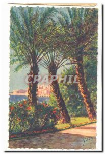 Menton Old Postcard The city seen through the palm trees