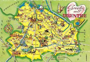 Netherlands Map, landkarte, Groeten uit Drenthe, Groningen,