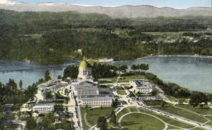 Aerial View of State Capitol - Olympia WA, Washington - Linen