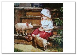 CUTE LITTLE GIRL & PIGS on farm Peasant Apple New Russia Modern Postcard