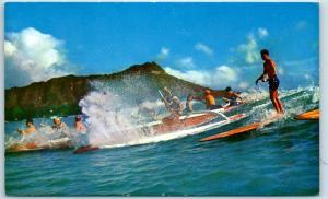 c1960s Hawaii Postcard Waikiki Surfing Scene w/ Diamond Head View c1960s unused