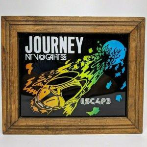 1980s Journey Escape Colored Glass Print Wood Frame Vtg Beetle Wall Rock E3
