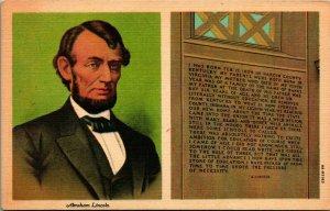 Lincoln Inscription in Memorial Hall Hodgenville KY Vtg Linen Postcard UNP