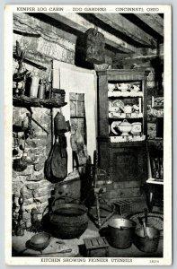 Cincinnati Ohio Zoo~Kemper Log Cabin~Kitchen Interior~Pioneer Era~China~1942 B&W