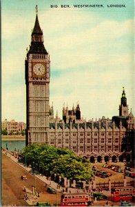 London UK Westminster Big Ben Side View Postcard unused (25893)
