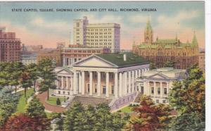 Virginia Richmond State Capitol Square Showing Capitol and City Hall 1943