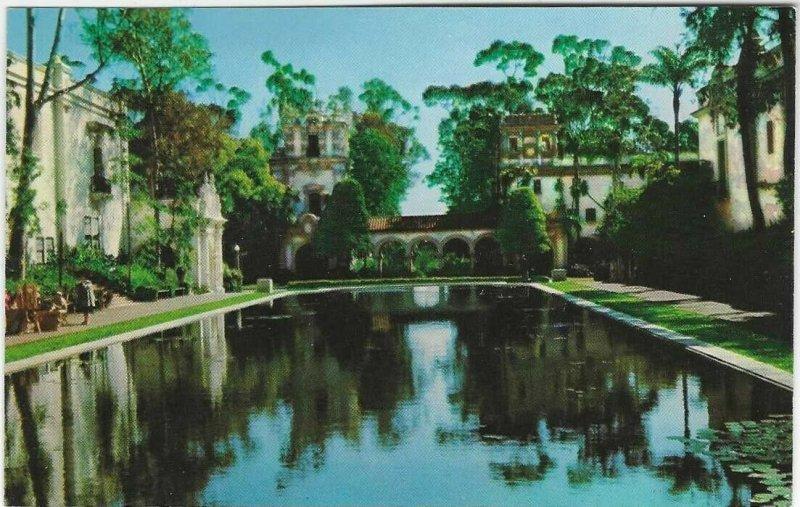 VTG postcard, Lagoon, Balboa park, California