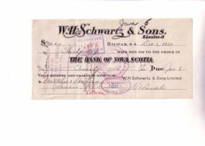 Custom Cheque from WH Scwartz & Sons, Halifax Nova Scotia Canada