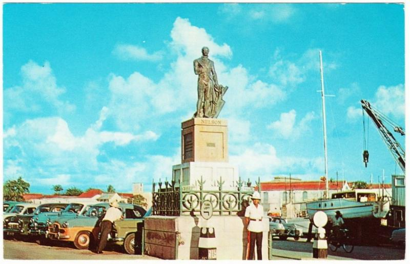 Barbados Bridgetown Police at Lord Nelson Monument 1950s-1960s Cars Postcard