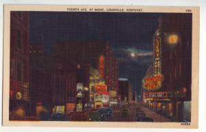 P827 old linen card night scene moon signs old cars etc 4th st louisville ky