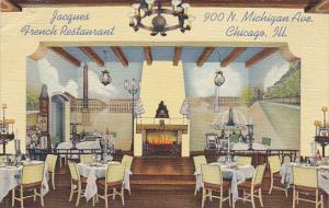 Illinois Chicago Interior Jacques French Restaurant 1941 Curteich