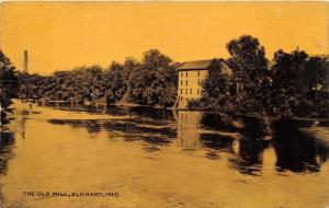 Elkhart Indiana~The Old Mill along River~1910 Postcard