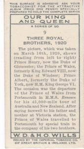 Cigarette Card Wills Our King and Queen No 9 Three Royal Brothers