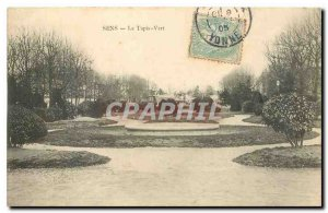 Old Postcard Sens Green Carpet