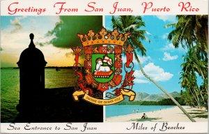 San Juan Puerto Rico Entrance Beaches Greetings Oliver Holmes Stamp Postcard E88