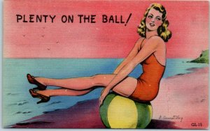 Artist-Signed B ARMSTRONG Linen Postcard PLENTY ON THE BALL! Glamour Girls GL-15