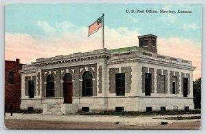 Newton Kansas~US Post Office~Men on Sidewalk~Flag on Roof~c1910 Postcard