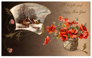 New Year , pot of Flowers , winter scene