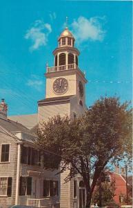 Nantucket Massachusetts~Town Clock~9:00 Curfew Rings~1950s Postcard