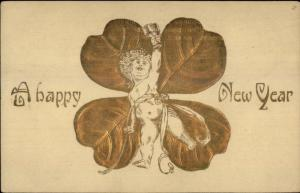 Baby New Year Toasting - Gold 4 Leaf Clover c1910 Postcard
