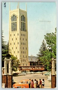 Stockton California~University of the Pacific~Burns Tower~Students by Car~1968