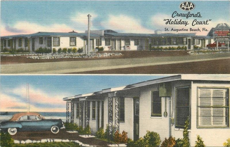 St. Augustine Florida~Crawford's Holiday Court~All Masonry Rooms~1940s Postcard