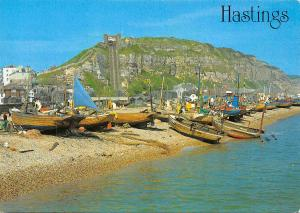 Hastings The Beach and East Hill Fishing Boats Bateaux
