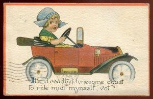 dc2038 - HUMOR Postcard 1913 Dutch Girl in Red Car