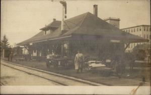 Freeport ME RR Train Station Depot c1910 Real Photo Postcard