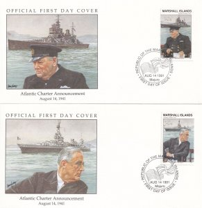 Atlantic Charter Announcement Ship Military 2x WW2 First Day Cover s