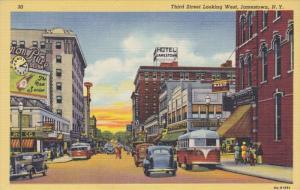 JAMESTOWN, New York, 1930-1940's; Third Street Looking West, Hotel Jamestown
