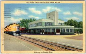 Las Vegas Nevada Postcard New Union Pacific Depot w/ Train Art Deco Linen 1940