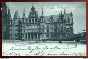dc404 - GERMANY Gruss Aus Wiesbaden 1898 Moonshine Litho Rathhaus