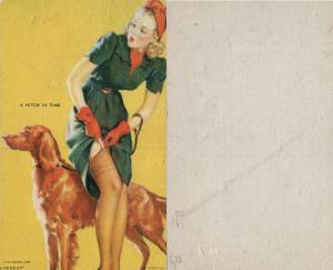 PIN UP GIRL w/ DOG MUTOSCOPE VINTAGE POSTCARD