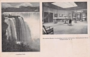 NIAGARA FALLS NY~CANADIAN FALLS~RECEPTION ROOM-INTERNATIONAL HOTEL POSTCARD 1900