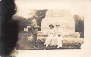 E7/ Patriotic Postcard c1918 Soldiers Monument Real Photo RPPC Women Man 16
