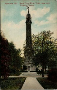 Milwaukee WI~North Point Water Tower As Viewed From the Pumping Station~1910 PC