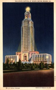 Louisiana Baton Rouge State Capitol Building At Night 1946 Curteich