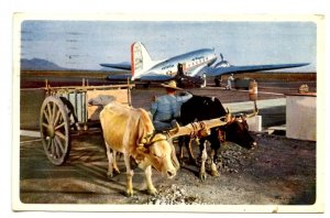 Mexico - American Airlines Advertisement. Ox Cart, Airplane
