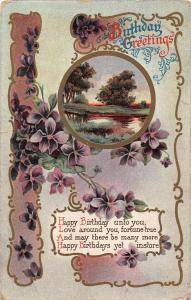 Birthday Greetings pansy flowers 1914