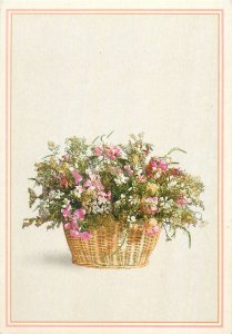 flower basket multi color   Postcard