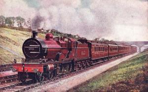 Manchester Liverpool Express Mill Hill Railway Station Rail Old Train Postcard