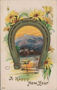 Happy New Year Horseshoe Ducks Cabin Sunset Posted Divided Back Vintage Postcard